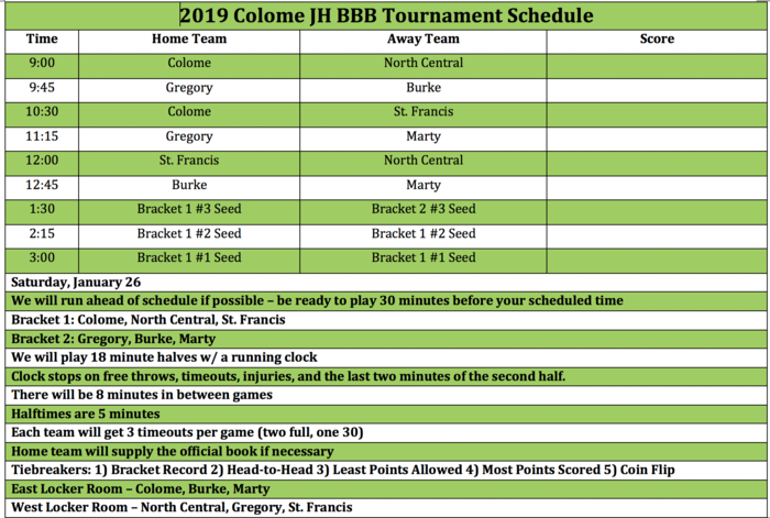 JH Boys Colome Tournament